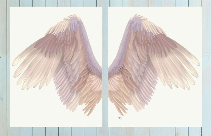 Angel Wings Collection Diptych Pink on Cream Art Print LoopyLolly Art Prints