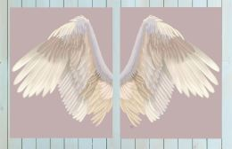 Angel Wings Collection Diptych Cream on Pink Art Print LoopyLolly Art Prints