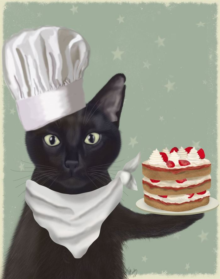 Black Cat Strawberry Cake