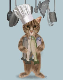 Tabby Cat Fish Chef
