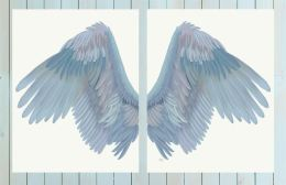 Angel Wings Collection Diptych Blue on Cream Art Print LoopyLolly Art Prints