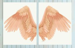 Angel Wings Collection Diptych Peach on Cream Art Print LoopyLolly Art Prints
