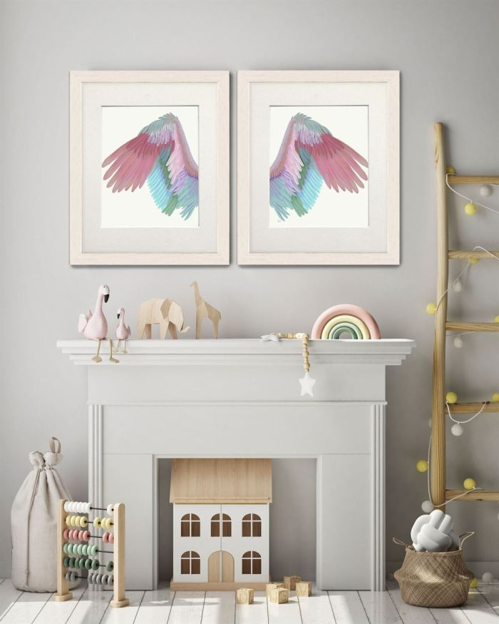 Angel Wings Collection Diptych Multicoloured on Cream Art Print