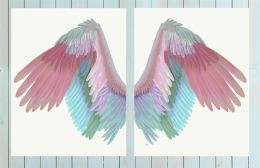 Angel Wings Collection Diptych Multicoloured on Cream Art Print LoopyLolly Art Prints