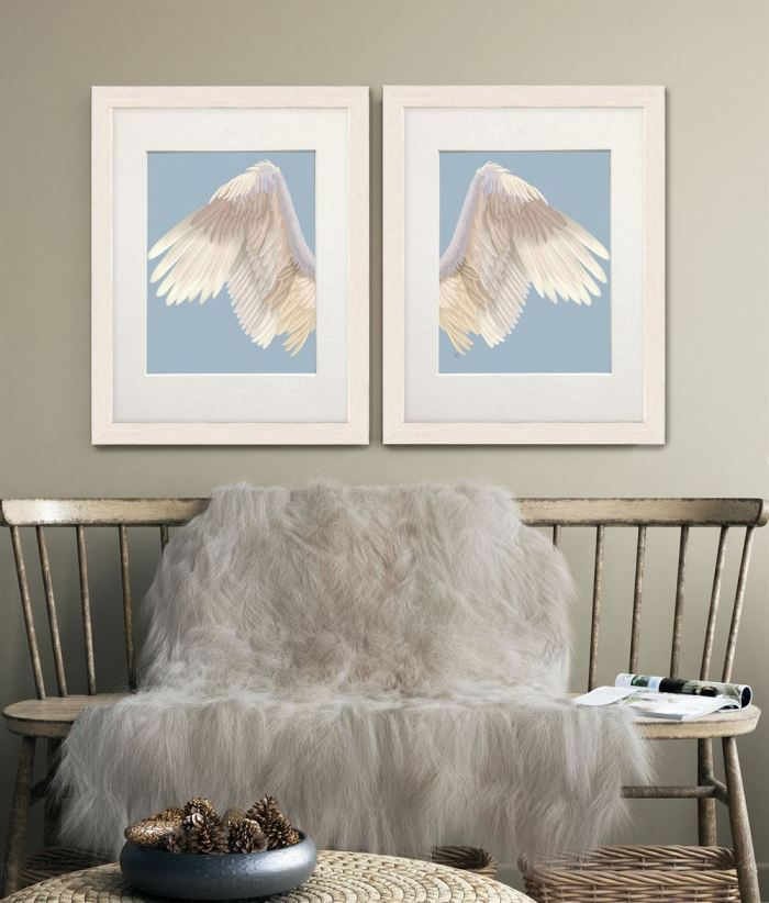 Angel Wings Collection Diptych Cream on Blue Art Print
