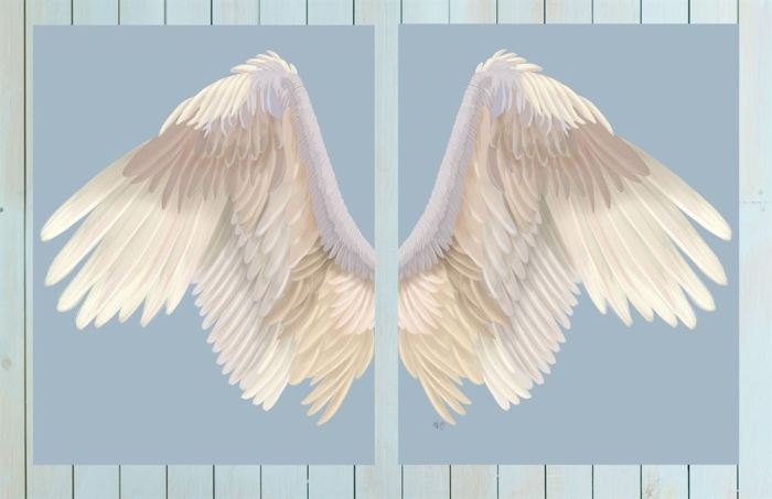 Angel Wings Collection Diptych Cream on Blue Art Print LoopyLolly Art Prints
