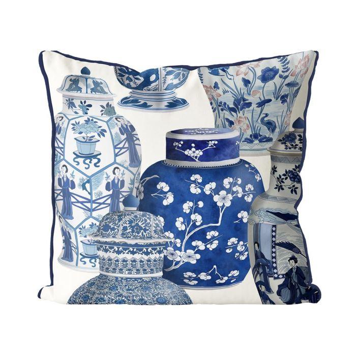 Chinoiserie Vase Collage 4 Blue on Cream