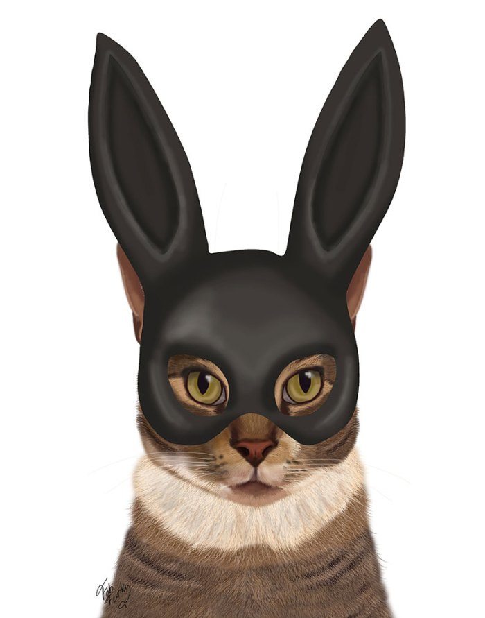 Cat with Bunny Mask