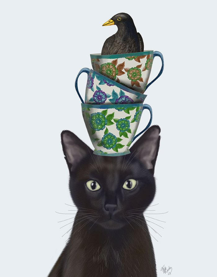 Black Cat with Teacups and Blackbird