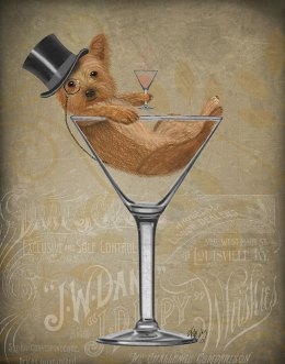 Yorkshire Terrier in Martini Glass - Gold