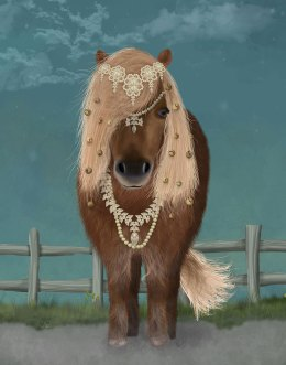Horse Brown Pony with Bells