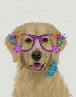 Golden Retriever and Flower Glasses