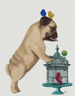 Pug and Birdcage