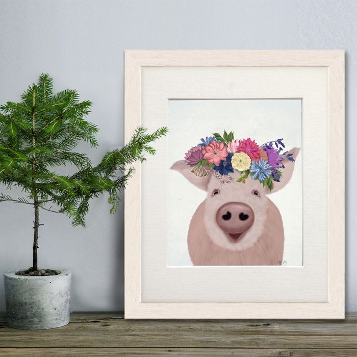 Pig and Flower Crown