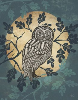Country Lane Owl in Moon