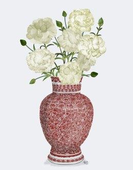 Chinoiserie Carnations White