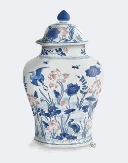 Chinoiserie Vase Crane Garden Blue