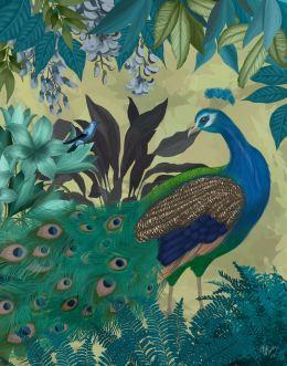 Peacock Garden 1 on Gold