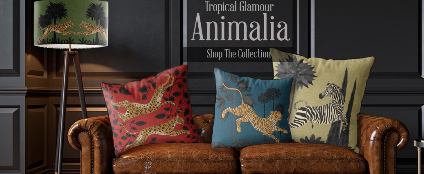 Animalia Tropical Glamour Cushions lamp shades