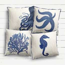 4 cushion collection - Blue With Seaweed