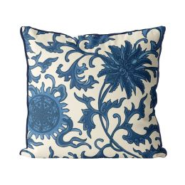 Lotus Garden Blue on Cream
