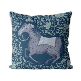 Chinoiserie Horse Blue Back