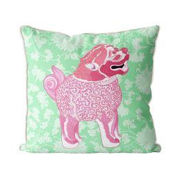 Happy Foo Dog Pink and Green