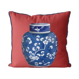 Chinoiserie Cherry Blossom Ginger Jar on Red
