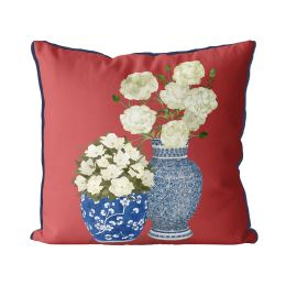Chinoiserie Flower Duo 1 on Red