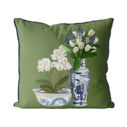 Chinoiserie Flower Duo 4 on Green