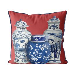 Chinoiserie Vase Trio 2 on Red