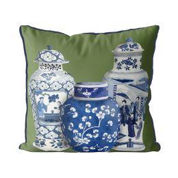 Chinoiserie Vase Trio 2 on Green