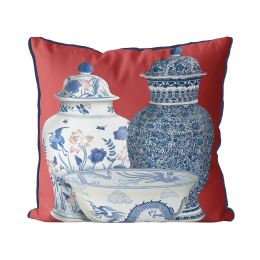 Chinoiserie Vase Trio 5 on Red