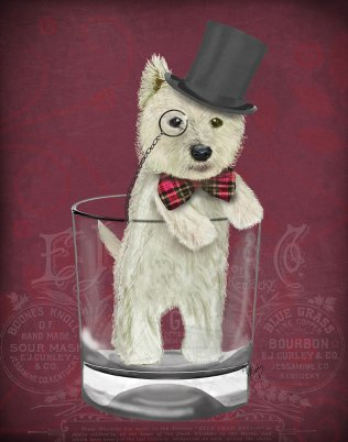 Westie in Whisky Tumbler - Red