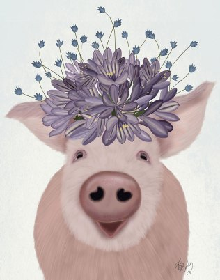 Pig and Lilac Flowers