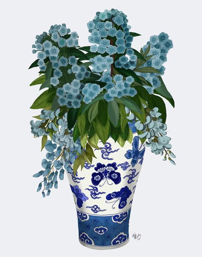 Blue Flowers In Butterfly Vase