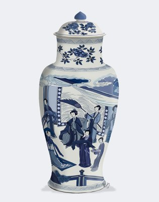 Chinoiserie Vase Queen Blue