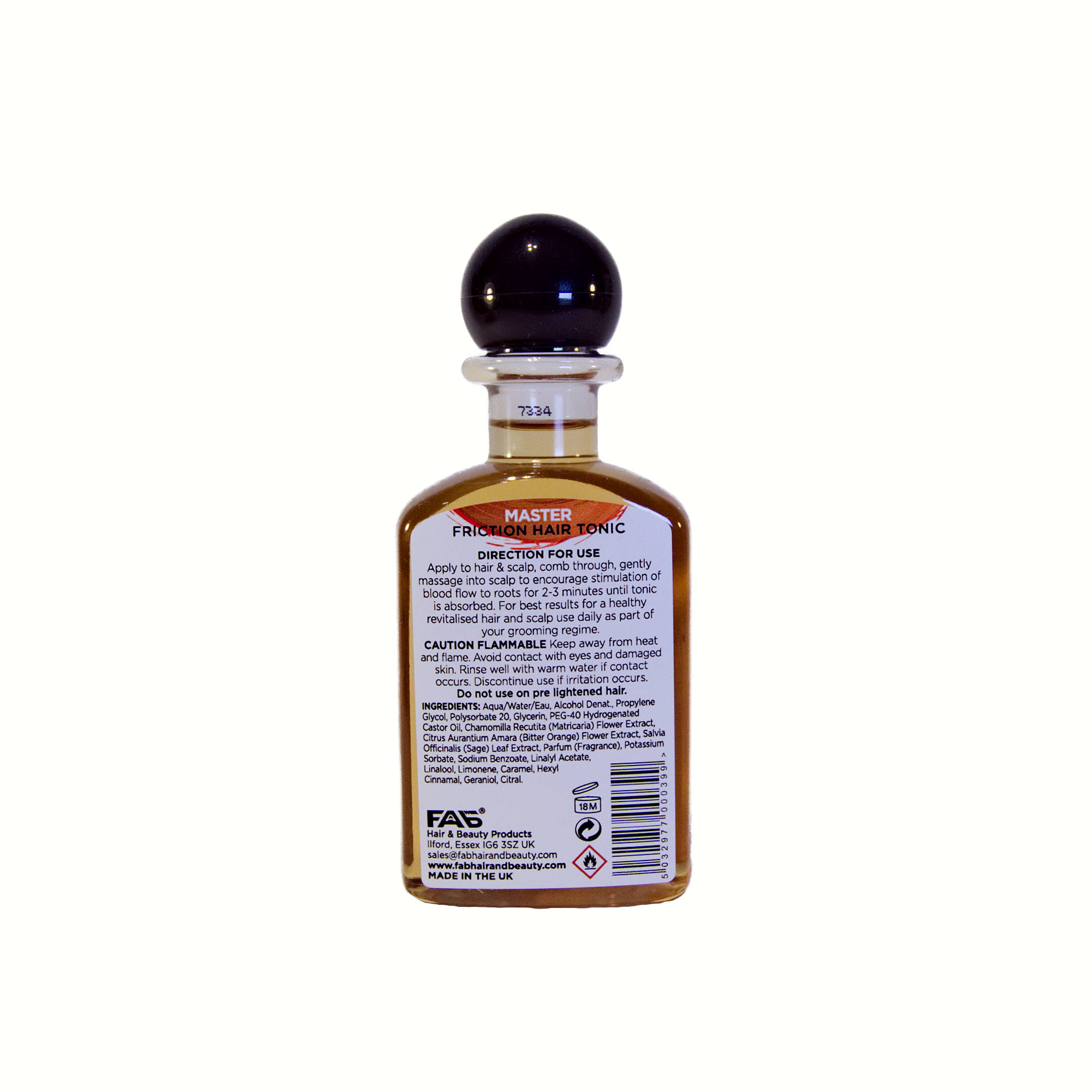 100ml bottle of Master flavoured FAB friction hair tonic (rear view)
