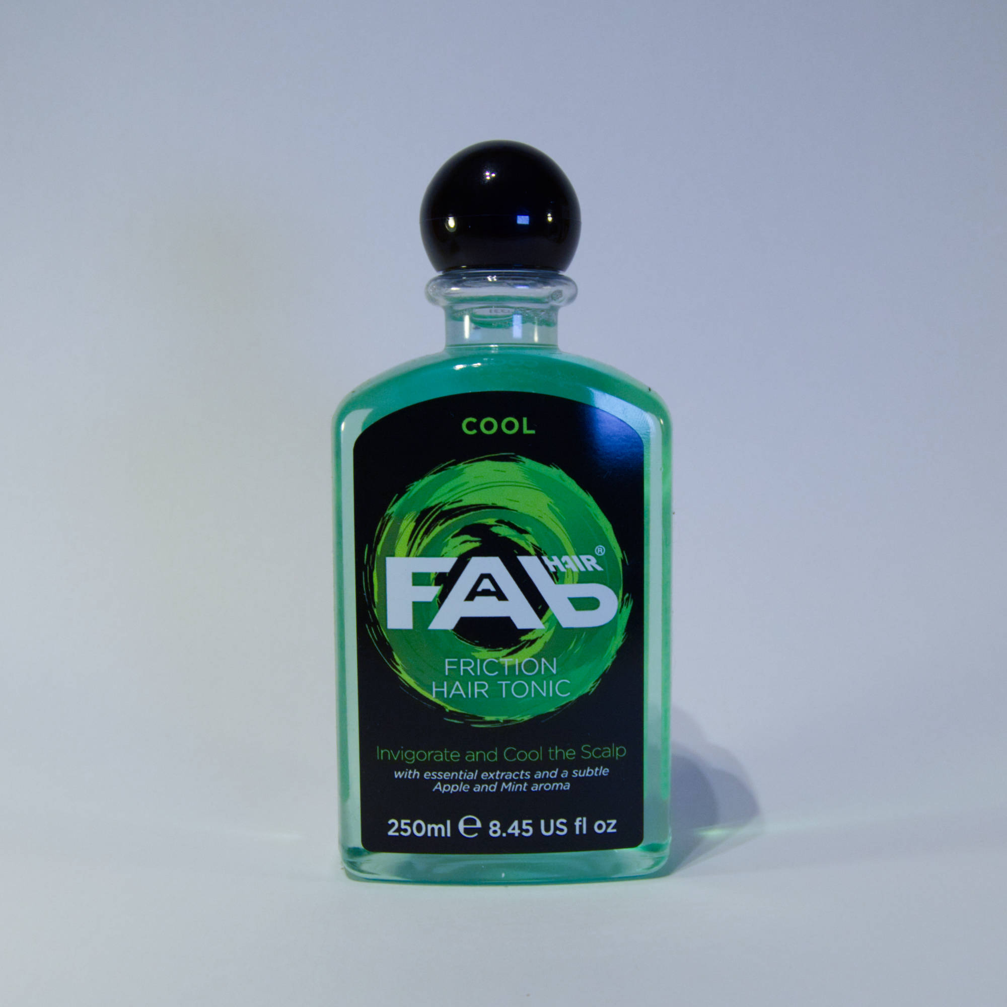 250ml bottle of Cool flavoured FAB friction hair tonic