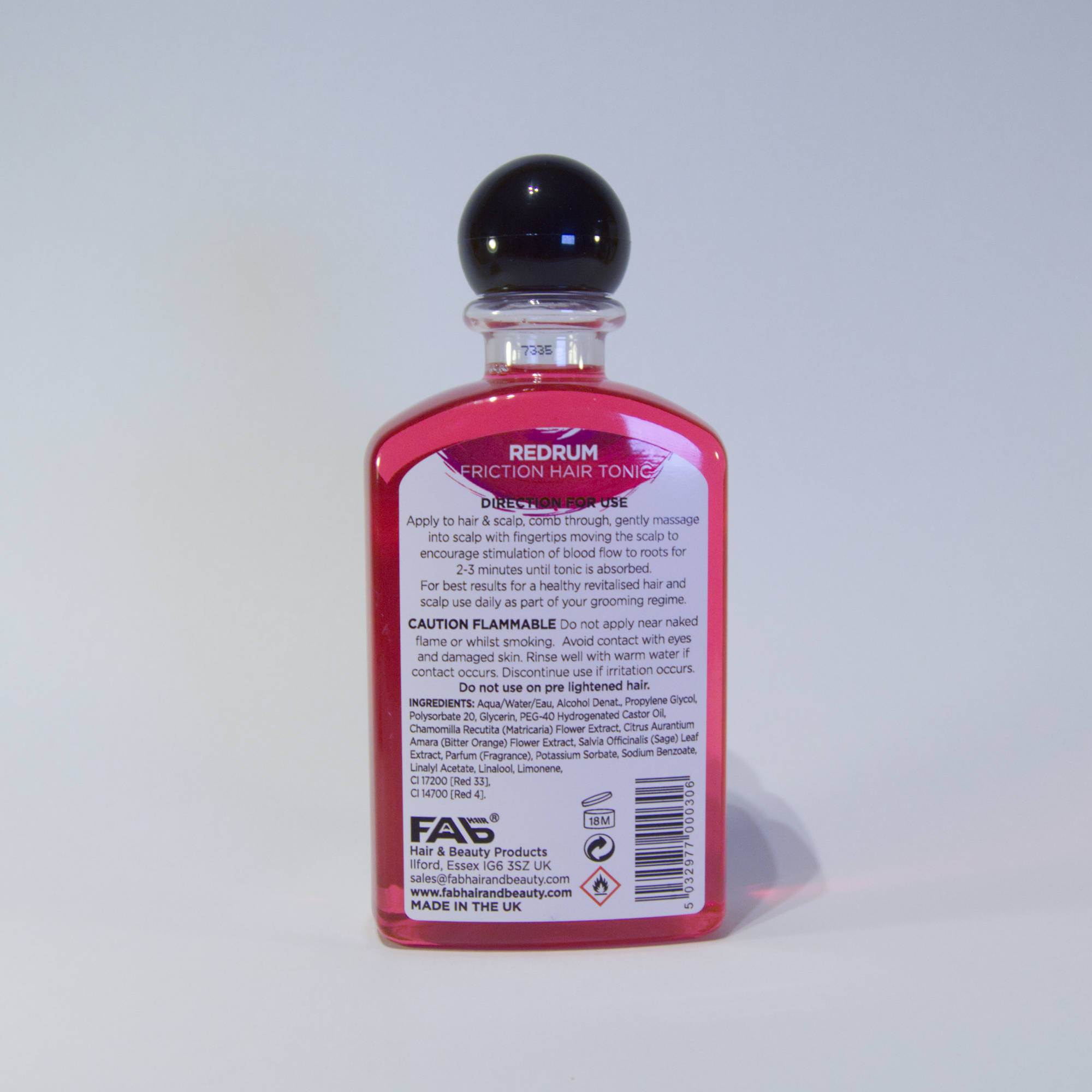 250ml bottle of Redrum flavoured FAB friction hair tonic (rear view)