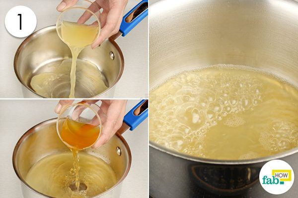 simmer lemon juice and acv in a pan