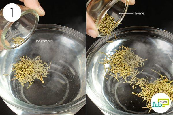 add herbs to boiling water to get rid of phlegm
