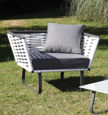 fauteuil de jardin solo horizon blanc haut de gamme aluminium resine tressee coussins epais