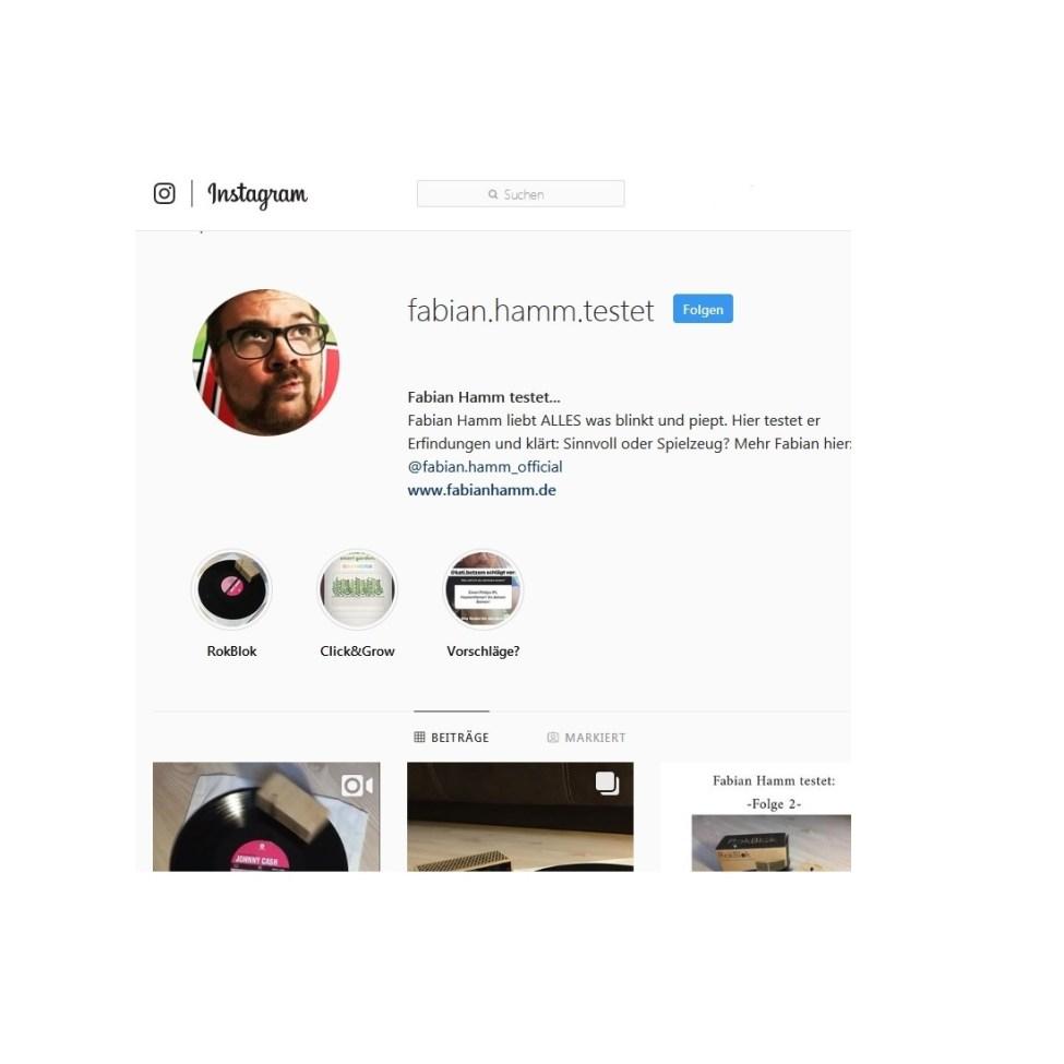 Fabian Hamm testet bei Instagram