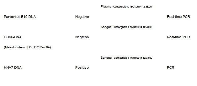 Il referto dei miei esami su herpes virus. Ho due herpes virus attivi che si replicano, l'HHV-7 (qui in foto) ed il temibile Epstein-Barr Virus (EBV).