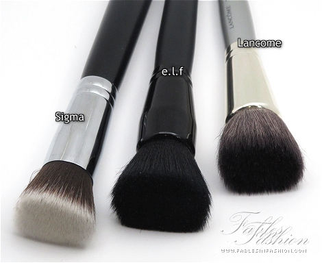 Sigma, e.l.f, Lancome Flat Top Brush Comparison