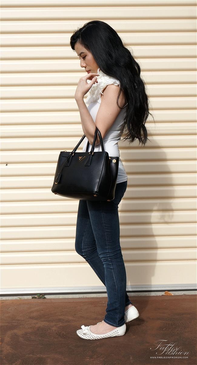 Prada Saffiano Lux Small Tote Review and Photos - Fables in Fashion dbfa8f0e0d799