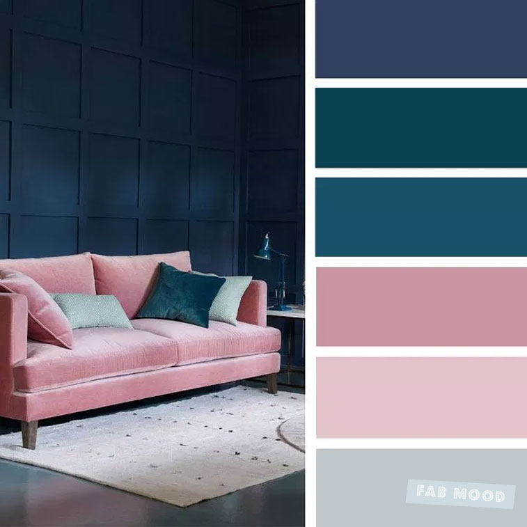 Blush Navy Blue Teal Color Palette For Sitting Room Color Inspiration