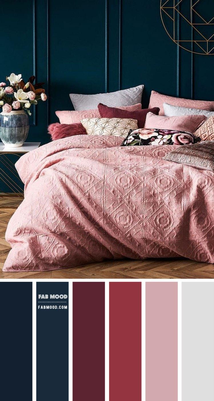 Burgundy Navy Blue And Mauve Bedroom Color Scheme