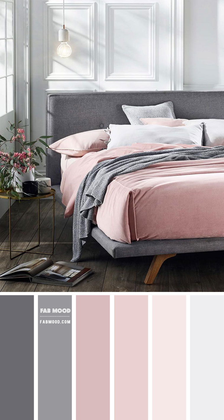 White Bedroom With Blush And Grey Colour Scheme